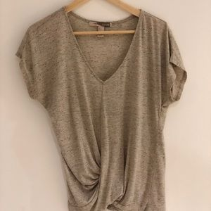 Oatmeal T-shirt with wrap front